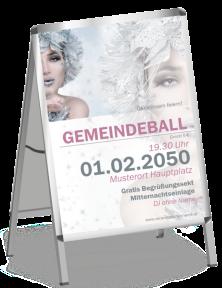 Plakat Ball Eiskoenigin Silber A0